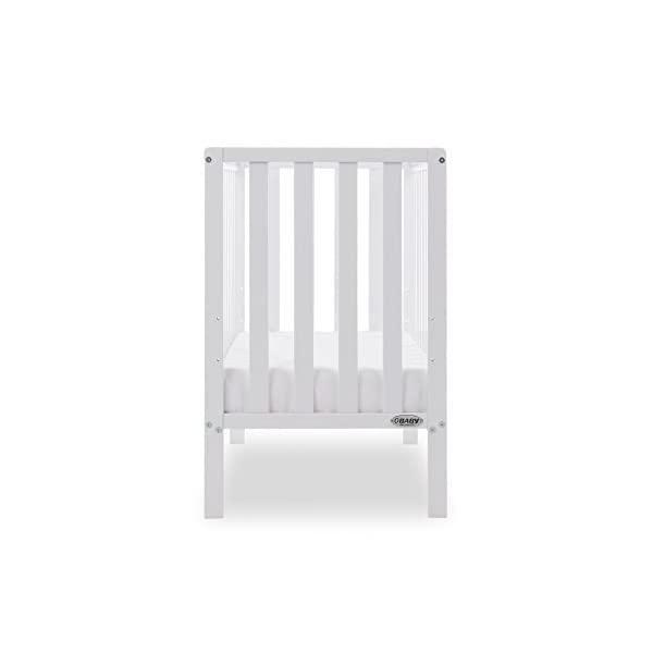 Obaby Bantam Space Saver Cot, White Obaby Adjustable, 3 position base height Beautiful slatted ends and sides help you keep an eye on your little one Teething rails ensure delicate teeth are protected 5