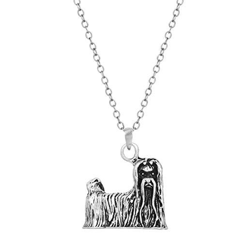 AISHIPING Vintage Antik Silber Anhänger Tier Hund Halskette Lange Kette Freunde Bijouterie
