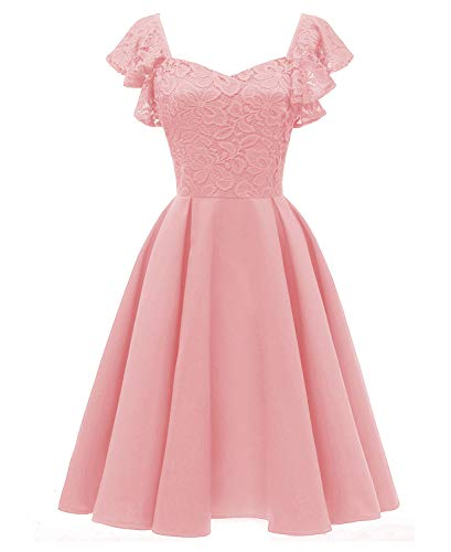 YAN Women es A Line Dress Lace Sleeveless Butterfly Satin Satin Swing Swing Dress Wedding Casual Party & Evening Pink Red Blue,Pink,M Butterfly Sleeveless