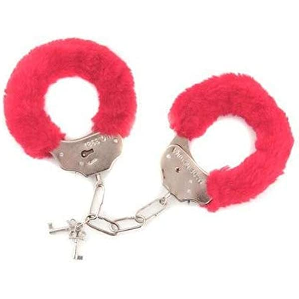 HEN OFFER RED FUR LOVE HANDCUFFS STAG PARTIES OR LOVELIFE