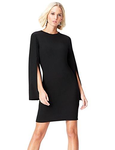 FIND Kleid Damen mit Ärmelschlitz und Bleistiftsilhouette, Schwarz, 38 (Herstellergröße: Medium)