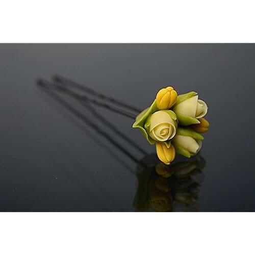 figuras kawaii porcelana fria Horquilla para el cabello de porcelana fria Rosas amarillas