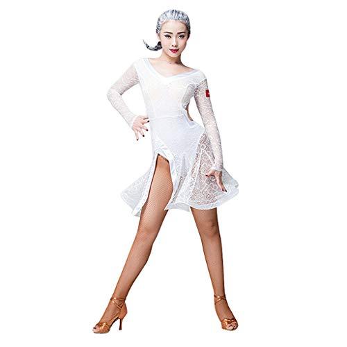 JTSYUXT Latin Dance Kostüm Frau Sexy Cha Cha Tanzen Kleid Spitze V-Ausschnitt Lange Ärmel Rumba Tango Performance Kostüm (Color : White, Size : - Rumba Frau Kostüm