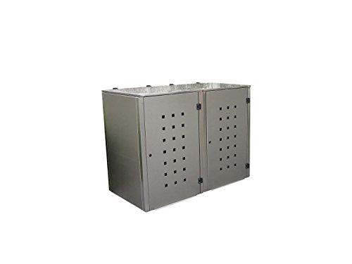 Mülltonnenbox Edelstahl, Modell Eleganza Quad6, 240 Liter als Zweierbox - 4