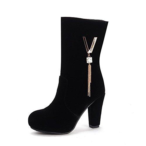 AllhqFashion Damen Niedrig-Spitze Hoher Absatz Rund Zehe Stiefel mit Wasser Diamanten Schwarz