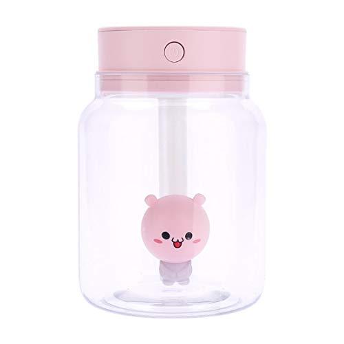 Anglayif Candy Jar Transparentes Difusores ultrasónicos portátiles Humidificador de Niebla fría 400 ml Sin Agua Apagado automático (Color : Pink)