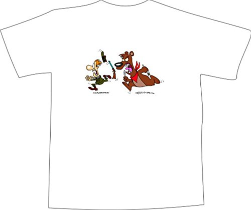 T-Shirt E1303 Schönes T-Shirt mit farbigem Brustaufdruck - Logo / Grafik / Design - hungriger Bär jagt Jäger Schwarz