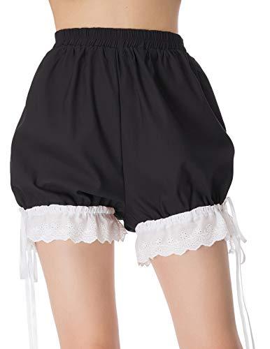 SCARLET DARKNESS Frauen Retro Lolita Bloomers Spitze Shorts Renaissance Hosen Schwarz Größe M