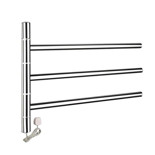 Schwenkbarer Handtuchwärmer (YHNUJMIK Schwenkbarer beheizter Handtuchhalter, Elektrischer Handtuchhalter Wandhalterung Kühler Bad Handtuchwärmer Edelstahl 304 für Küche (3 Röhren))