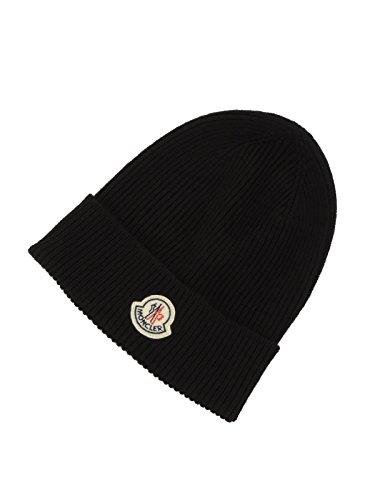 Moncler 00217 00 04957 berretto uomo cappello in lana sottile (NERO)