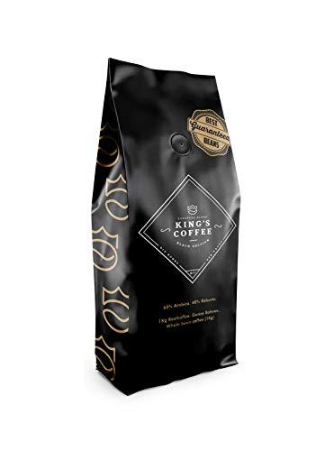King's Coffee Black Edition - Dunkle Espresso Röstung - Arabica Robusta Blend - Kaffee-Bohnen für Vollautomaten - 1KG Espresso-Bohnen