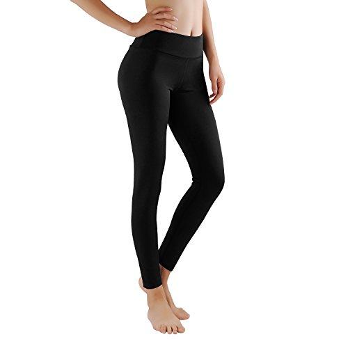 GoVia leggins para damas pantalones deportivos largos para Training Running Yoga Fitness transpirables con cintura alta 4106 Negro M