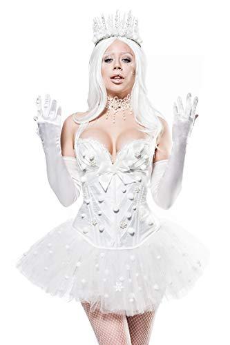Königin Winter Schnee Kostüm - Damen kurzes Fantasy Kostüm Weiße-königin Verkleidung aus Corsage, Tutu Rock, Handschuhe, Rückenfrei und Mehrschichtig in weiß EIS Krone Kostüm XL