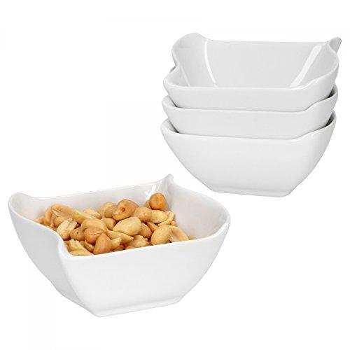 Van Well 4-tlg. Set Schalen Büfett | eckig + wellig | Servier-Schälchen für Snacks, Eis-Creme & Dessert | edles Porzellan | weiß | Gastro Designer-dessert-sauce