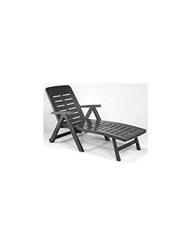 Klappbare Liege mit 2 Rollen Rücken 5-fach verstellbar Gartenliege Sonnenliege Rollliege Relaxliege Liegestuhl Gartenstuhl Klappstuhl Kunststoff – Anthrazit