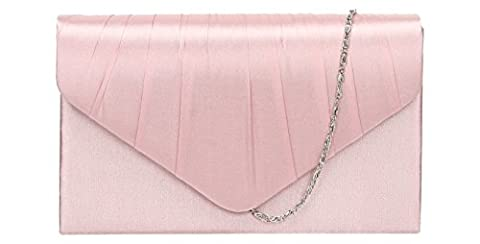Chanel Abby Satin Envelope Style Womens Party Prom Wedding Clutch Bag Purse -- Blush Pink
