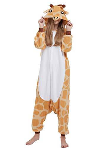 Karton Kigurumi Fasching Halloween Kostüm Lounge Sleepsuit Cosplay Overall Pyjama Schlafanzug Erwachsene Unisex Giraffe for Höhe 140-187CM ()