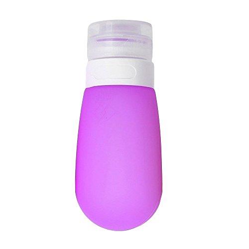 Silicone di bottiglie di viaggio ricaricabile e squeezable kosmetische container auslaufsichere bottiglie per gel doccia/shampoo/condizionatore/lotion/articolo toilette (80ml, viola)