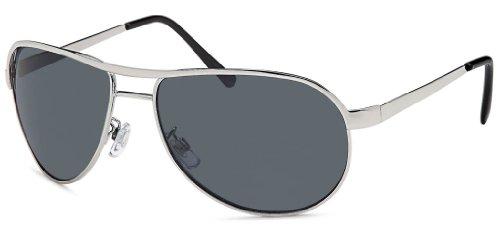 Feinzwirn Sonnenbrille Pilotenbrille für normale und schmalere Köpfe, Fliegerbrille mit silber...