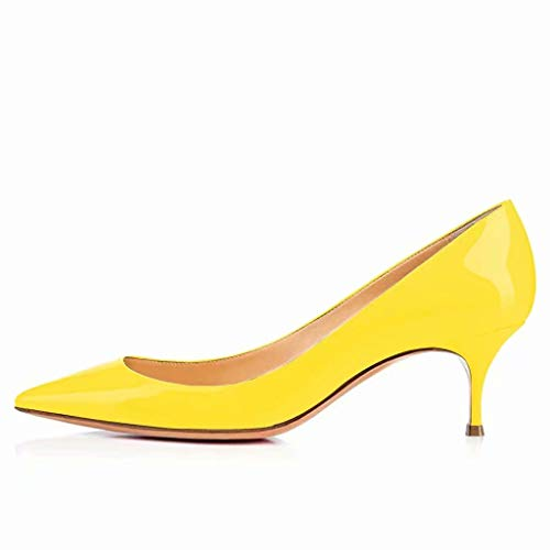 ba5032368be73 Caitlin Pan Womens Pointed Toe Kitten Heels 6cm Low Height Pump Heel Shoes  Yellow Size 9UK