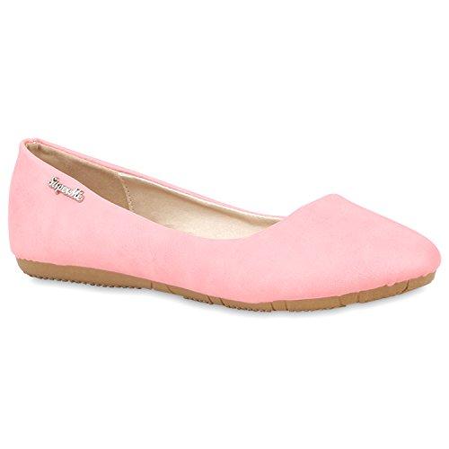 Klassische Damen Ballerinas | Flats Leder-Optik Lack | Metallic Schuhe Glitzer Schleifen | Ballerina Schuhe Übergrößen Rosa