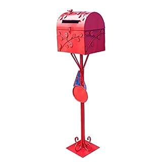 Briefkästen Mailbox Briefkasten Letterbox Landung Retro Rural Assembly Mit Tag Mit Schnalle Pflanze Blumendekoration TINGTING (Farbe : Red, größe : 30 * 20 * 111cm)