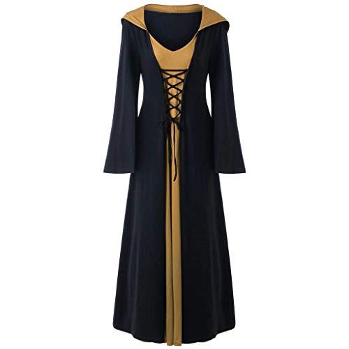 Hunde Gothic Kostüm - Damen Halloween Retro Kleid mit Kapuze Langarm Kleid Lang Nähen Robe mit Tunnelzug Lomelomme Cosplay Kostüm Damen Kleid Halloween Party
