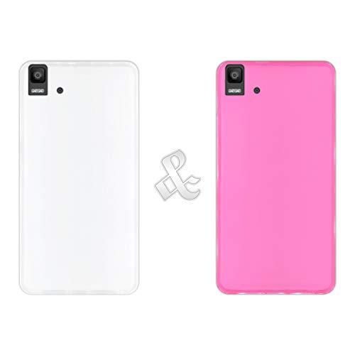 Hapdey [2 Stück Hülle (Klar + Pink) für [Bq Aquaris E5s - E5 4G], Handyhülle Silikon Flexibel Gel, Stoßfest, Harte Schutzhülle, Schutz vor Kratzer und Staub