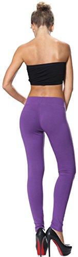 Blickdichte Leggings Damen Leggins Yoga Jogginghose Baumwolle Übergröße DE48 -52 Violett ...