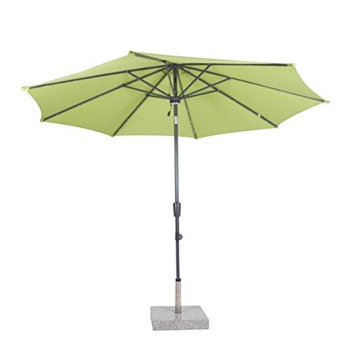 greemotion Sonnenschirm 120220, limette-farbener Solarschirm, mit LEDs im Schirmdach, Sommerschirm mit Kurbel zum Aufspannen, der Strandschirm hat eine Auto-Knickfunktion, der Balkonschirm ist höhenverstellbar und besteht aus Stahl und Polyester, die Maße des Marktschirms betragen ca. Ø 300 cm