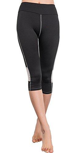 BOZEVON Donna Skinny Sport Elastico Sottili Pantaloni Stretti Atletico Capri Fitness Yoga Leggings Gym Pantaloni Nero