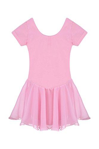Ceanfly Mädchen Kinder Ballett Tutu Tütü Balletkleid Kindertanzkostüme Trikots Tanz Leotards Kleider, Type3-Pink, Gr. 140(7-8Y) (Ballett Kinder Tutus)