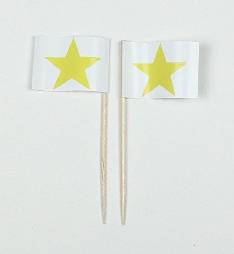 Buddel-Bini Party-Picker Flagge gelber Stern Papierfähnchen in Profiqualität 50 Stück Beutel Offsetdruck Riesenauswahl aus eigener Herstellung