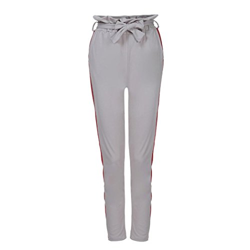 Toamen Femmes Pantalon Rayé Pantalon taille haute dentelle Mode (M, Gris)