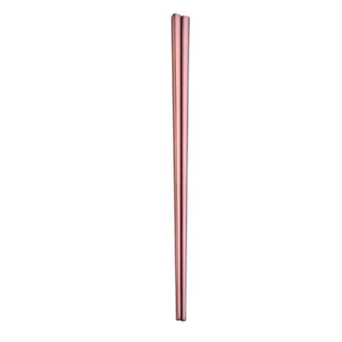 1Paar Stainless Steel Geschirr bunte Länge 23cm Stäbchen (Rose Gold)