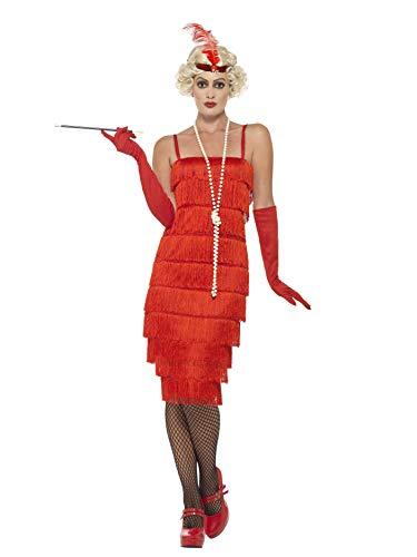 Smiffys 45501X1, Damen Flapper Kostüm Langes Kleid Haarband und Handschuhe,rot,48-50(Herstellergröße:X1)