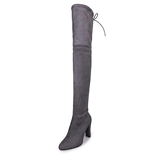 YWLINK Damen Stiefel Overknees GefüTtert Flandell Frauen Stretch Faux Slim Hohe Stiefel SchnüRen ReißVerschluss High Heels(42 EU,Grau)