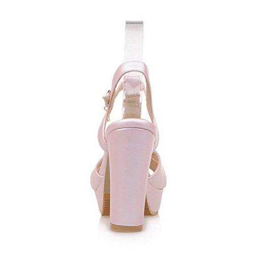 VogueZone009 Donna Sbirciare Tacco Alto Puro Luccichio Sandali Rosa