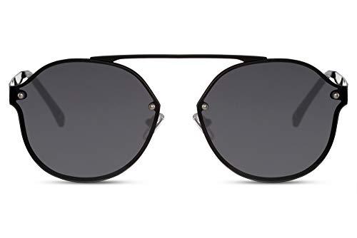 Cheapass Sonnenbrille Runde Bridged und Flache Dunkle Gläser Vintage UV400 Schutz Männer Frauen