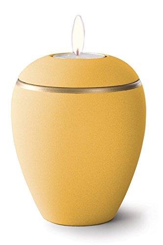 Keramik Kerzenhalter Verbrennung Asche Urne–Sonnenblume gelb