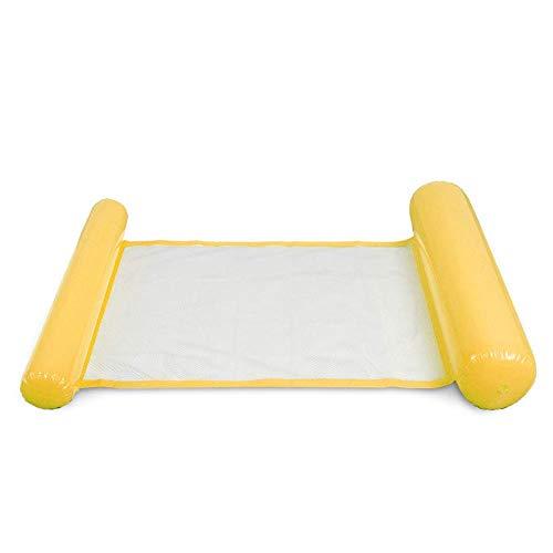 AoJuy Aufblasbares Schwimmbett, Wasser-Hängematte, Strandmatte, Frühling, Sommer, Outdoor, Erwachsene, bequem, Schwimmbad, Liege, Air Sofa - gelb -