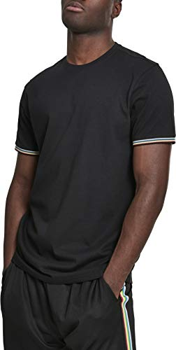 Urban Classics Herren Rib Ringer Tee T-Shirt, Mehrfarbig (Black/Multicolour 00466), Medium (Herstellergröße: M) Classic Rib