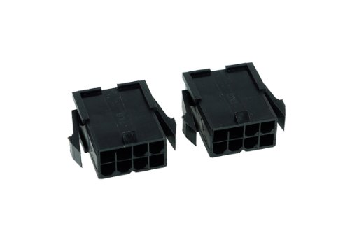 Phobya VGA Power Connector 8Pin Buchse inkl. 8 Pins - 2 Stück Black Kabel Connector -