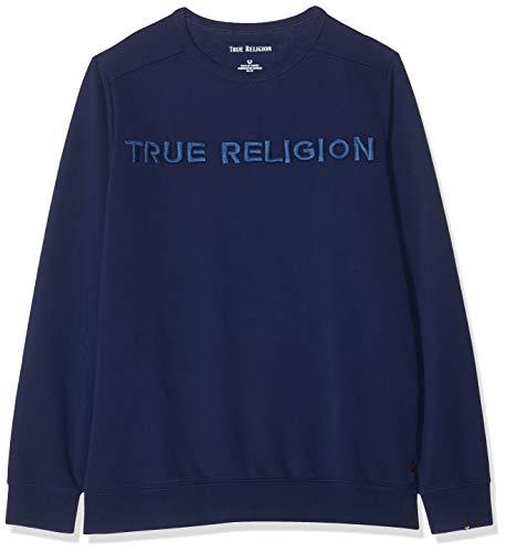 True Religion Herren Crew Sweat TR SOLID Navy Sweatshirt, Blau 4142, (Herstellergröße: XX-Large)