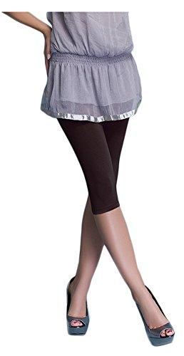 Damen Leggings 3/4 Länge Capri, verschiedene Farben, BAUMWOLLE (L, Braun) (3/4 Länge Leggings)