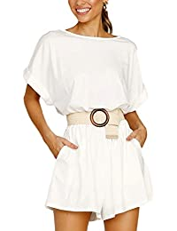 dde968eb2a449 Lover-Beauty Mono Mujer Elegante Corto Verano Casual Pantalones Ropa Vestir  Cintura Alta Vendaje Ajustado