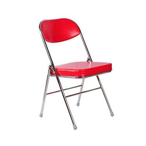 Sunny Chaise Pliante, Accueil Manger Conférence Dossier Ordinateur Chaise De Bureau, Châssis en Acier PU Cover Coussin Souple (Couleur : Plating Red)