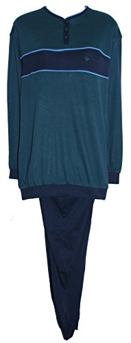 Da uomo 100% Jersey di cotone a maniche lunghe pigiama. NAVY/VERDE. Misure Med-XL 2X L 3X L Navy / Green / Light Blue XXXX-Large