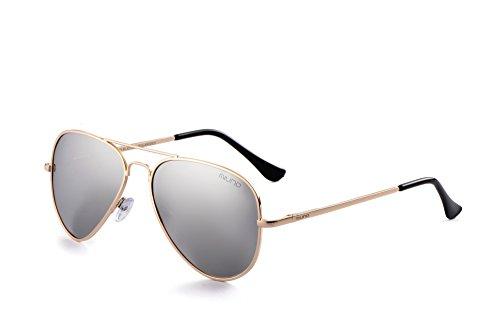 Miuno® Sonnenbrille Polarisiert Polarized Herren Damen Geschenkbox & Brillentuch Aviator Federscharnier 3025 Goldgestell (Silberverspiegelt)