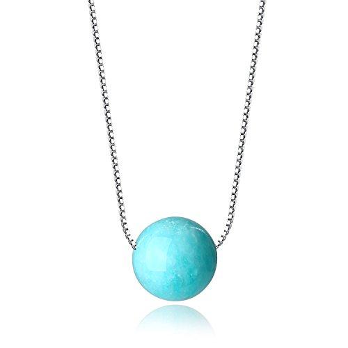 Coai collana da donna con catena in argento placcato platino e ciondolo a sfera in pietre naturali amazzonite